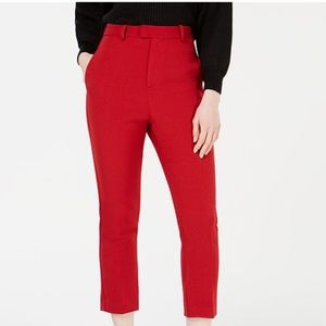 Line & Dot Cropped Red Trousers